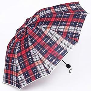 Sasan British plegado paraguas negocios masculinos y femeninos super gran sombrilla paraviento checker anti rayos ultravioleta sombrilla f,Refuerzo y engrosamiento 12,lattice