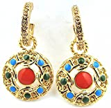 Gold Electro Plated Turquoise Coral & Jade Colored Enamel Half Hoop Earrings