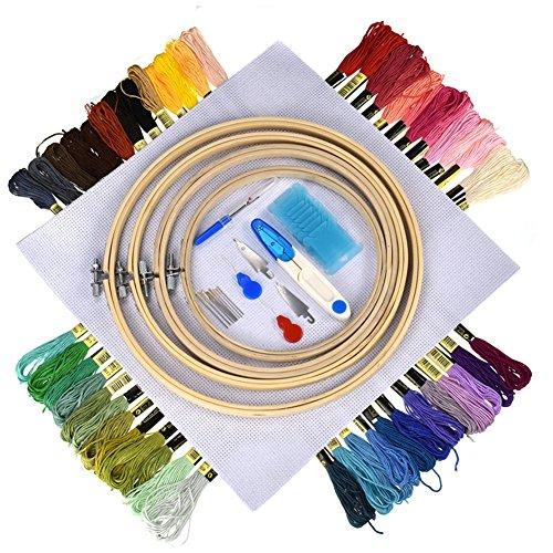 hjuns-Wu 刺繍セット 刺しゅうキット 刺繍ツール クロスステッチ セット 刺しゅう系 50色 刺しゅう枠/刺しゅう針/刺しゅう用布付き 刺しゅう道具セットの商品画像