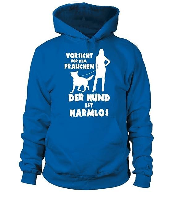 Hunde Vorsicht vor dem Frauchen der Hund ist harmlos Damen Hoodie und Kapuzenpullover f/ür Frauen