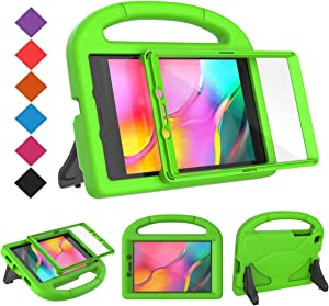 BMOUO for Samsung Galaxy Tab A 8.0 Case 2019 SM-T290/T295, Tab A 8.0 2019 Case with Screen Protector, Shockproof Light Weight Handle Stand Galaxy Tab A 8.0 inch 2019 Kids Case Without S Pen - Green