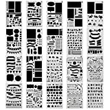 NABLUE 20 Pcs Bullet Journal Stencil Set Planner Stencil for Journaling, Scrapbooking, DIY Cards Making and Art Projects …
