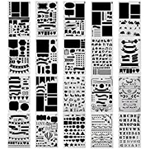 COCODE 20 Pcs Bullet Journal Stencil Set Plastic Planner Stencils for Journaling, Scrapbooking, Notebook, Diary, Card and Art DIY Projects Drawing Template Stencil 4x7 Inch