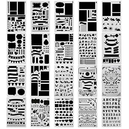 - NABLUE 20 Pcs Bullet Journal Stencil Set Planner Stencil for Journaling, Scrapbooking, DIY Cards Making and Art Projects