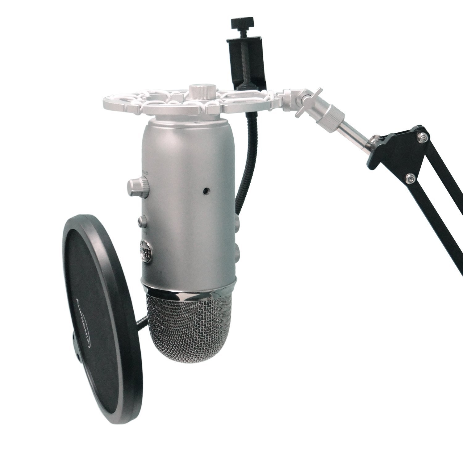 Silver Shock Mount For Blue Yeti and Blue Snowball Mics Eliminates Noises From External Vibration