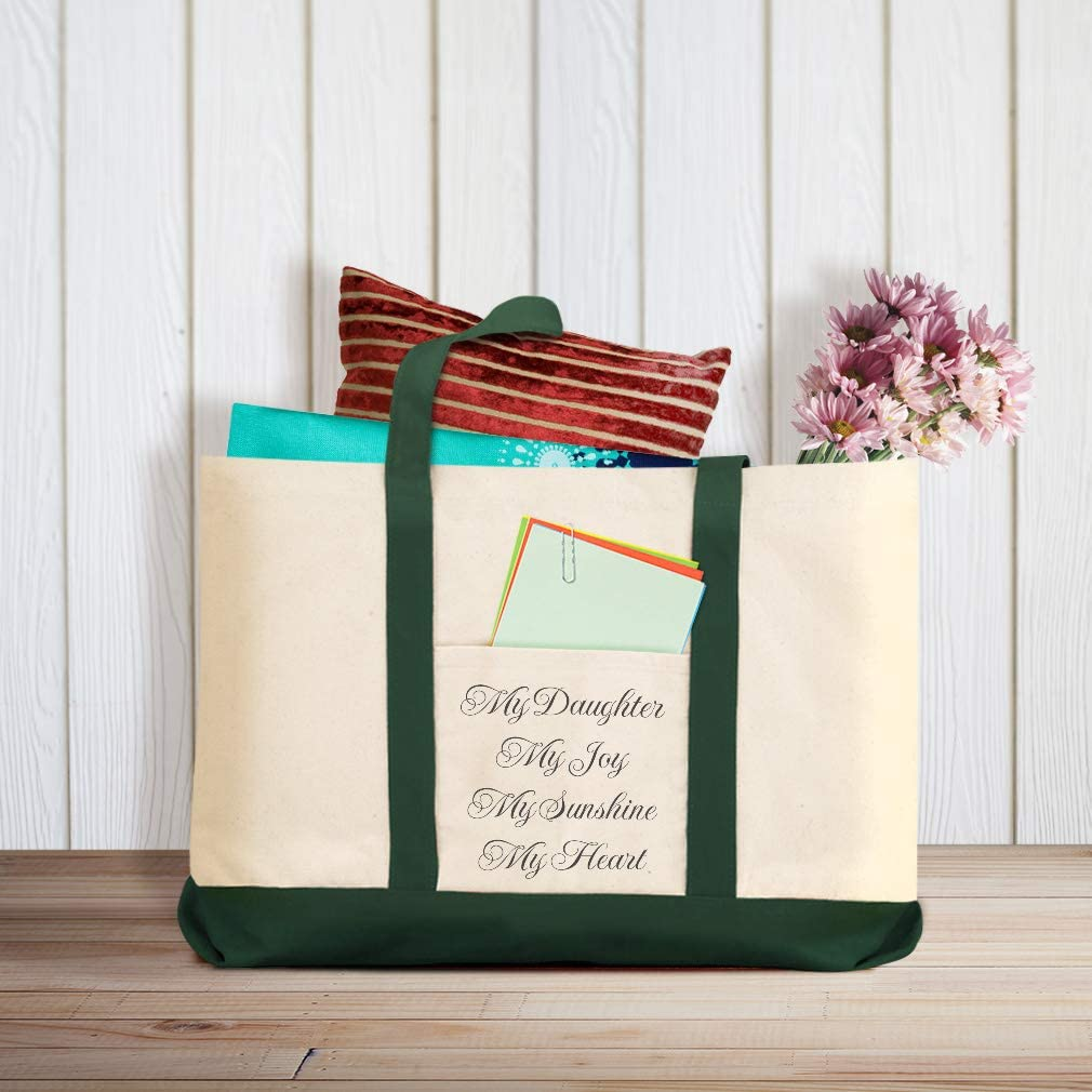 Canvas Shopping Tote Bag My Daughter Joy Sunshine Heart Daughter Beach for Women Inspirational Gifts