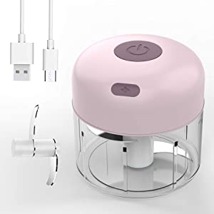 Electric Mini Garlic Food Chopper, Portable Cordless Blender Processor, Waterproof Slicer Spice Grinder, Powerful Mincer Blender Mixer, Kitchen Gadget Masher for Meat Ginger Onion Chili Seasoning