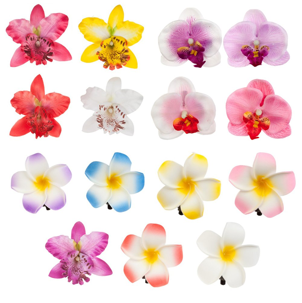 Accessories Set of 15pcs Amazing Artificial Flowers Hair Pins / Clips / Decorations With 6 Exotic Hawaii Plumerias And 9 Noble Orchids In Different Colours By VAGA
