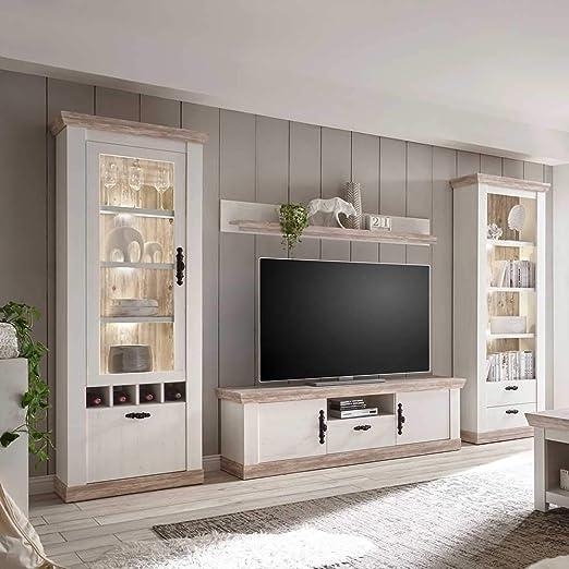 pharao24 wohnzimmer schrankwand im landhaus design kiefer weiss ohne beleuchtung energieeffizienzklasse