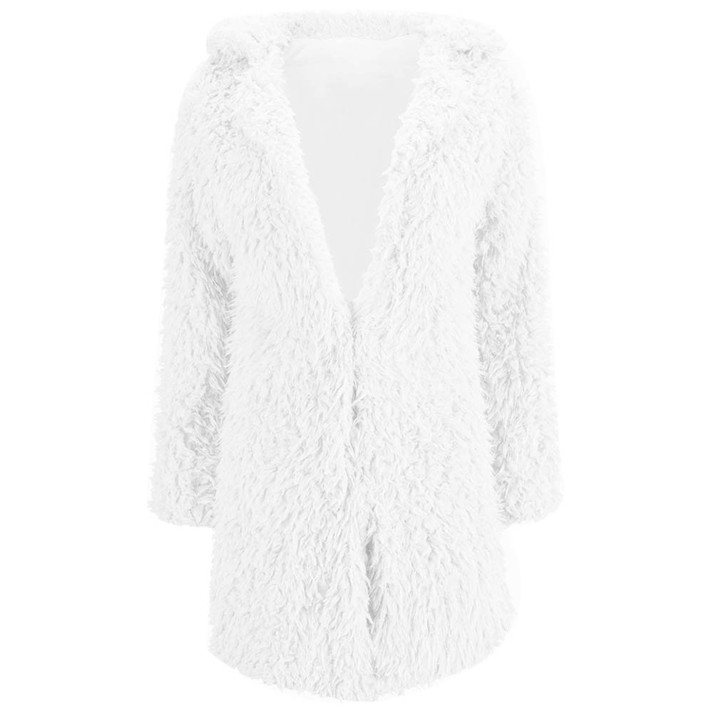 Women Cute Multi-Colors Fluffy Faux Fur Lapel Long Coat Overcoat Outwear Tops (XL, White)