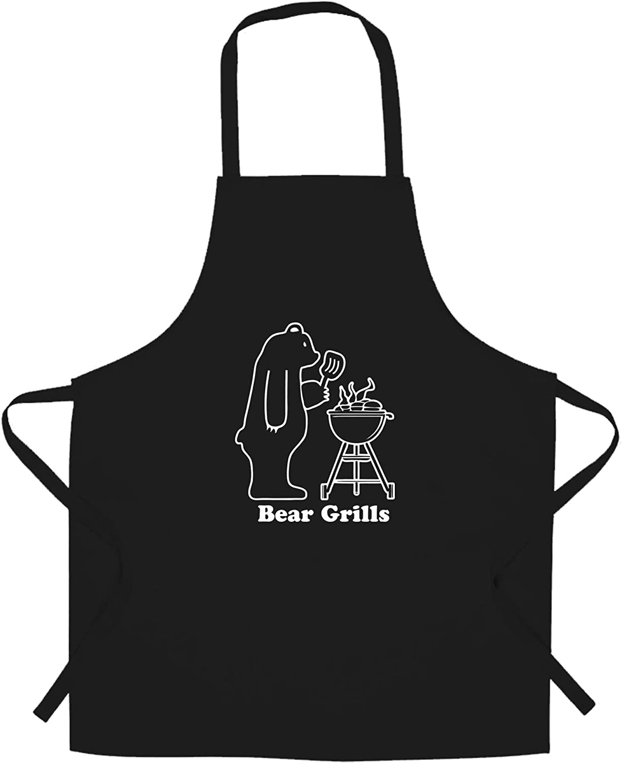 Novelty Barbecue Chef's Apron Grilling Bear Grills Joke Black One Size