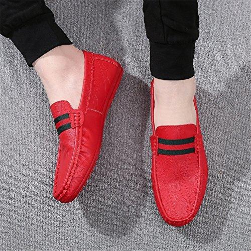 y Slip Comfort Exterior Primavera Para PU Verano Rojo Negro Blanco Oficina y Zapatos Hombre Carrera Mocasines de Ons de HUAN Casual Rojo Zapatos xqzY66
