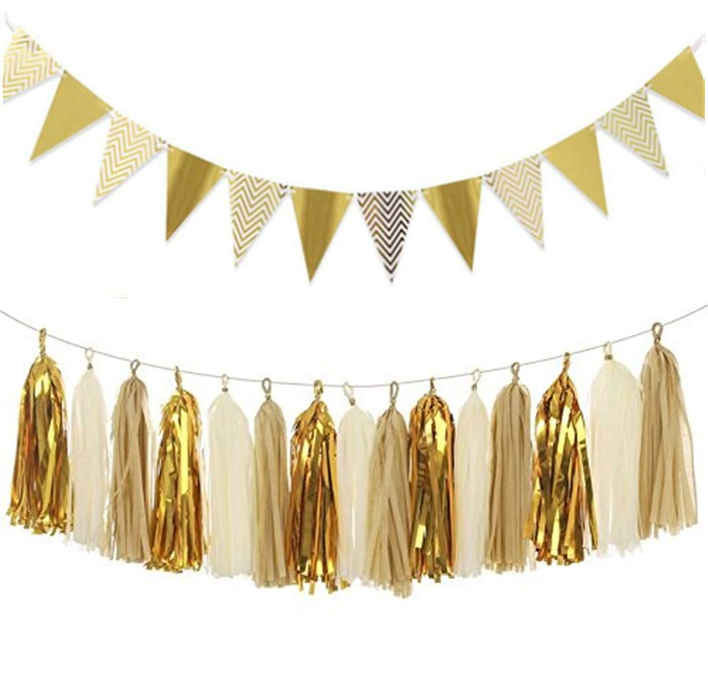 Bachelorette Party Wall Decoration YQ-BEST Wedding Glitter Triangle Paper Pennant Banner Flag Bunting /& Tissue Paper Tassel Garland Garland for Baby Shower