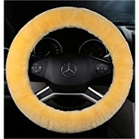 ANDALUS Steering Wheel Cover Soft Australian Natural Authentic Sheepskin Car | Vehicle Non-slip Wheel (Beige)