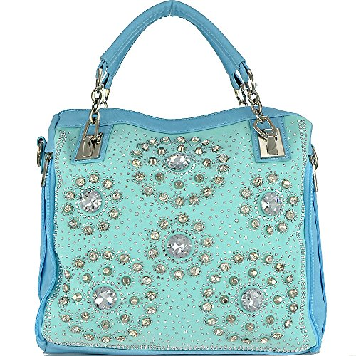(am4-1)studded Bling Rhinestone Tote Bag-light Blue