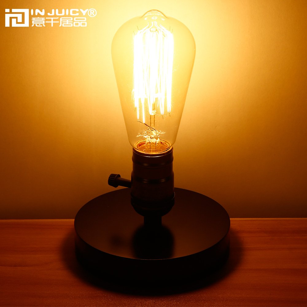 Injuicy Lighting Loft Vintage Retro Industrial Edison Bulb E27 Led Wood Table  Light Wooden Base Desk Accent Lamp Living Room Bedroom Bedside Home Decor  With ...