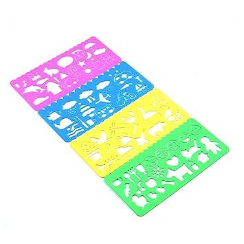 YALIN Plantillas de plástico para Pintar Plantillas de Dibujo Coloridas, Plantillas para álbumes de Recortes, Plantillas de Dibujos Animados para ...