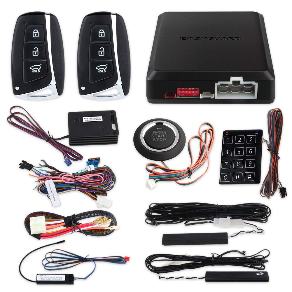 EASYGUARD EC002-HY-NS Smart Key PKE car Alarm System with keyless Entry Remote Engine Start Stop Engine Start Stop Button Touch Password keypad Shock Alarm Warning by EASYGUARD