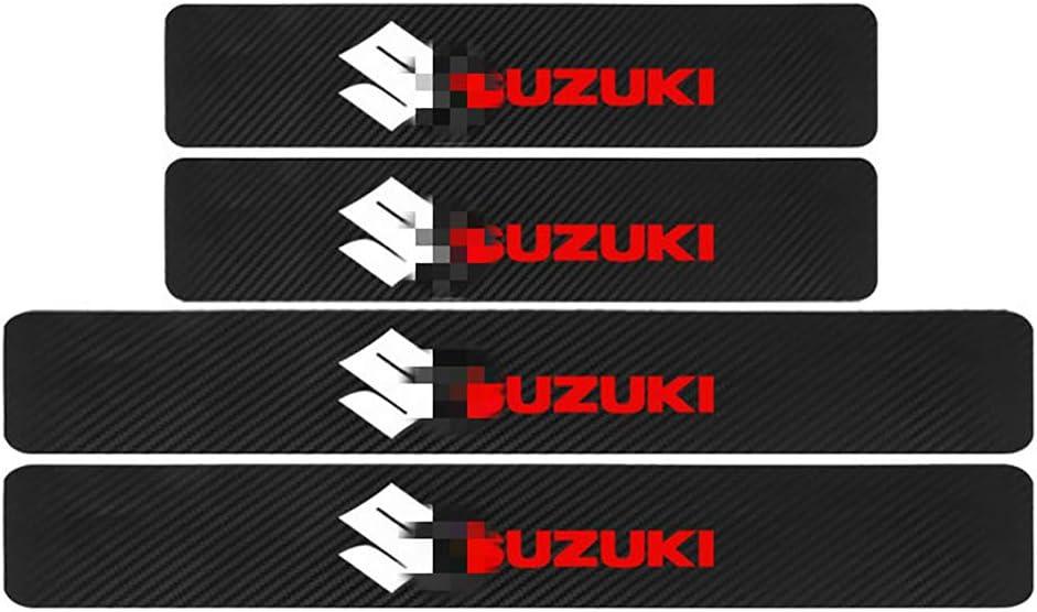 per Suzuki Swift SX4 Vitara Jimny S-Cross Battitacco Pedal Stickers AntiGraffio Pellicola Protettiva NTUOO 4Pcs Car Adesivi Soglia Fibra Carbonio Auto Styling Accessori