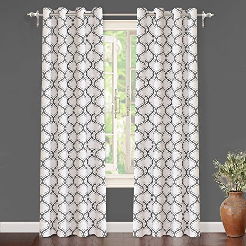 "Trellis Panel (DriftAway Geo Trellis Room Darkening/Thermal Insulated Grommet Unlined Window Curtains, Set of Two Panels, each 52""x96"" (Gray))"