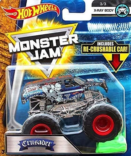 Hot Bodies Car - Hot Wheels Monster Jam Crusader Includes Re-Crushable Car X-Ray Body 3/3