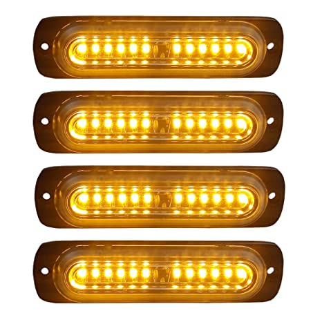 4pcs Ultra Slim 12-LED Surface Mount Grille Flashing Strobe Lights for  Truck Car Vehicle Mini LED Light-Head Emergency Beacon Hazard Warning  lights
