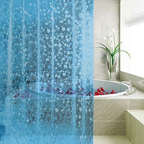 Rust Proof Grommets with Plastic Curtain Hook 72x72 3D,0.15 MM 3D Crystal Pattern Blue Non Toxic No Chemical Odor FITNATE Waterproof EVA Shower Curtain Liner Eco-Friendly