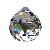 Yoker Clear Crystal Acrylic Ball Prisms Pendant Feng Shui Hanging Faceted Prism Balls Gems Bead Strands 16 Feet