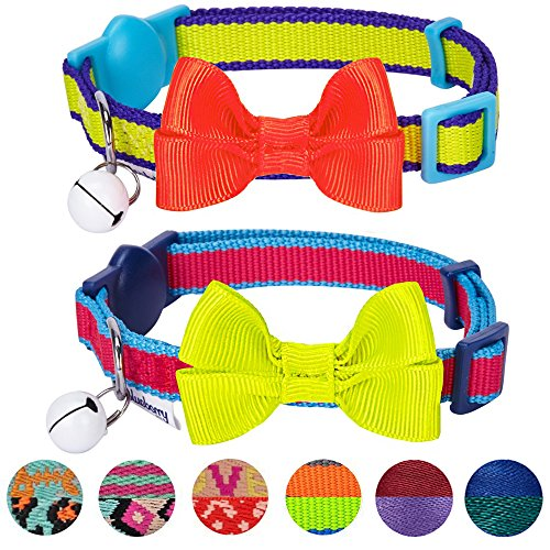 Blueberry Pet Pack of 2 Cat Collars, Classic Solid Adjustable Breakaway Cat Collar for Girl & Boy with Bell and Bow Tie in Fluorescent Yellow and Pink, Neck 9