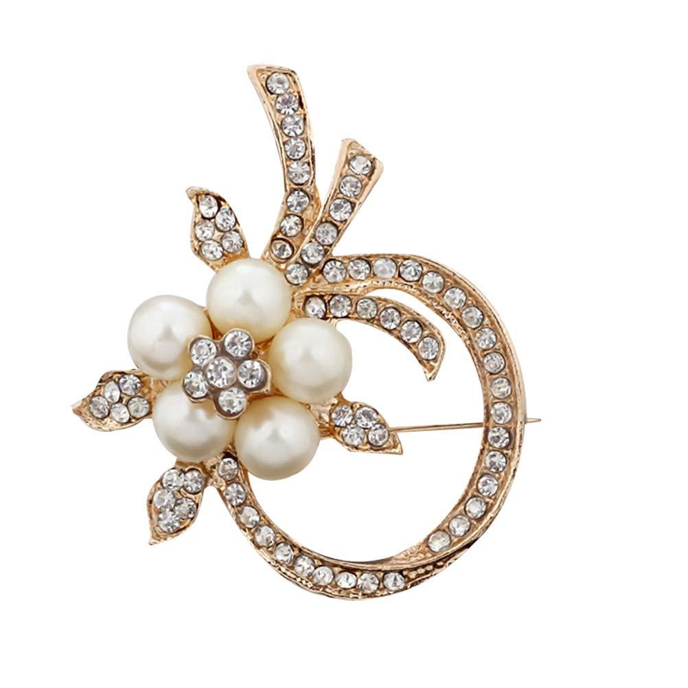Amosfun Broche de perlas con flores para la boda Fiesta de ...