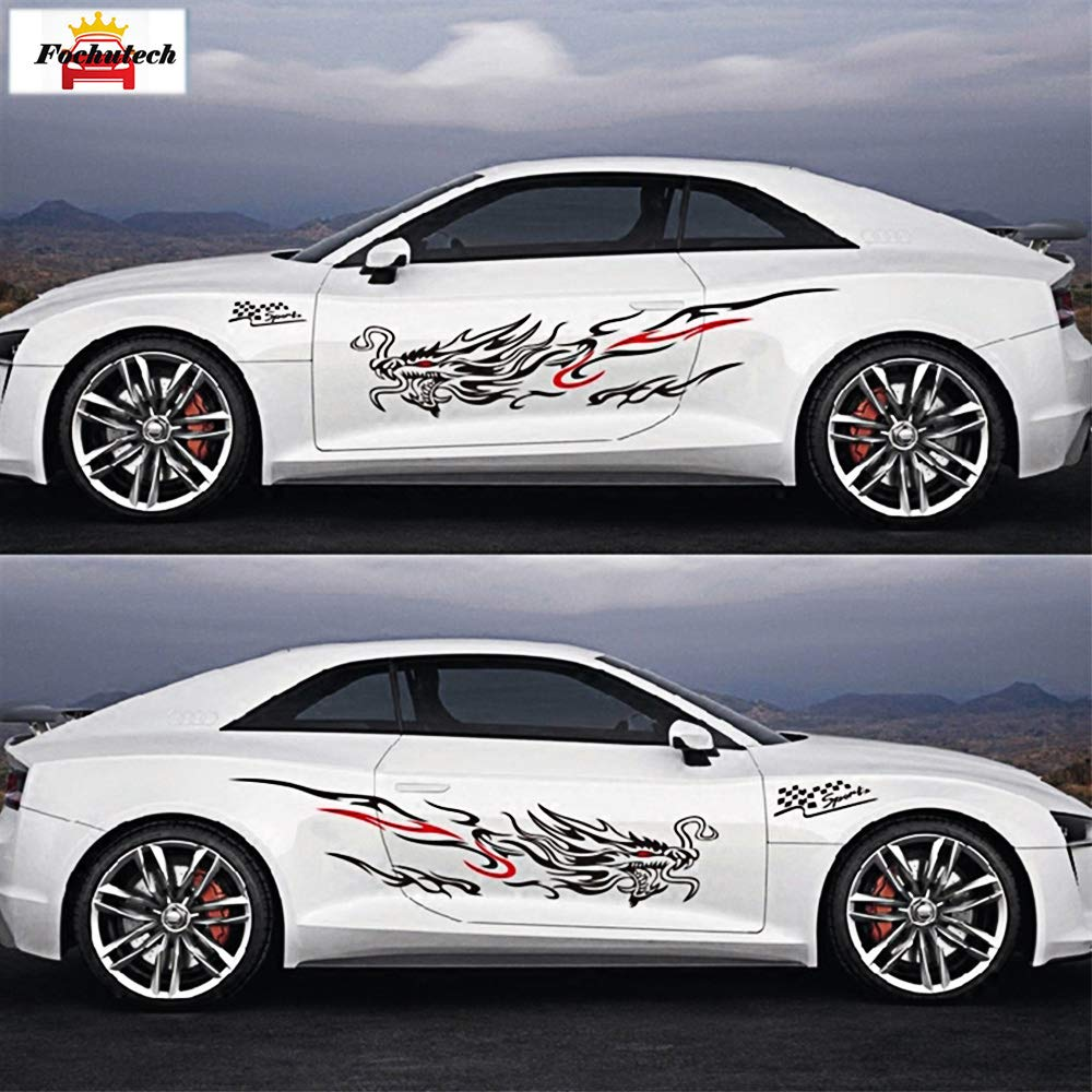 Fochutech car racing decals dragon decal vinyl car side stickers full set sticker car car door body winssheild hood window decal universal car sticker
