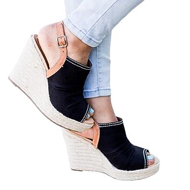 260071ae31161 Pxmoda Womens Slingback Peep Toe Wedge Sandals Fashion Espadrilles Wedges  (US 10