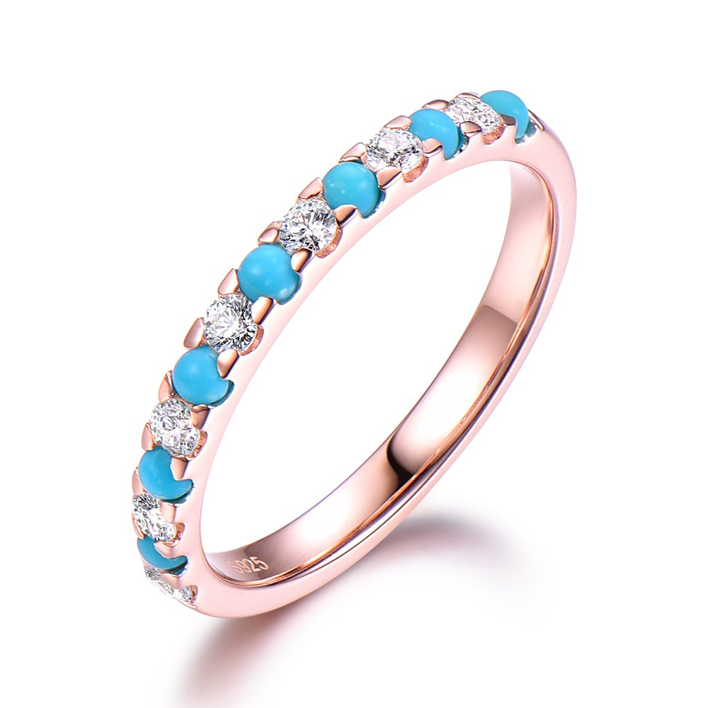 Turquoise Wedding Band Round CZ 925 Sterling Silver Rose Gold Plated Bridal Stacking Ring Stackable