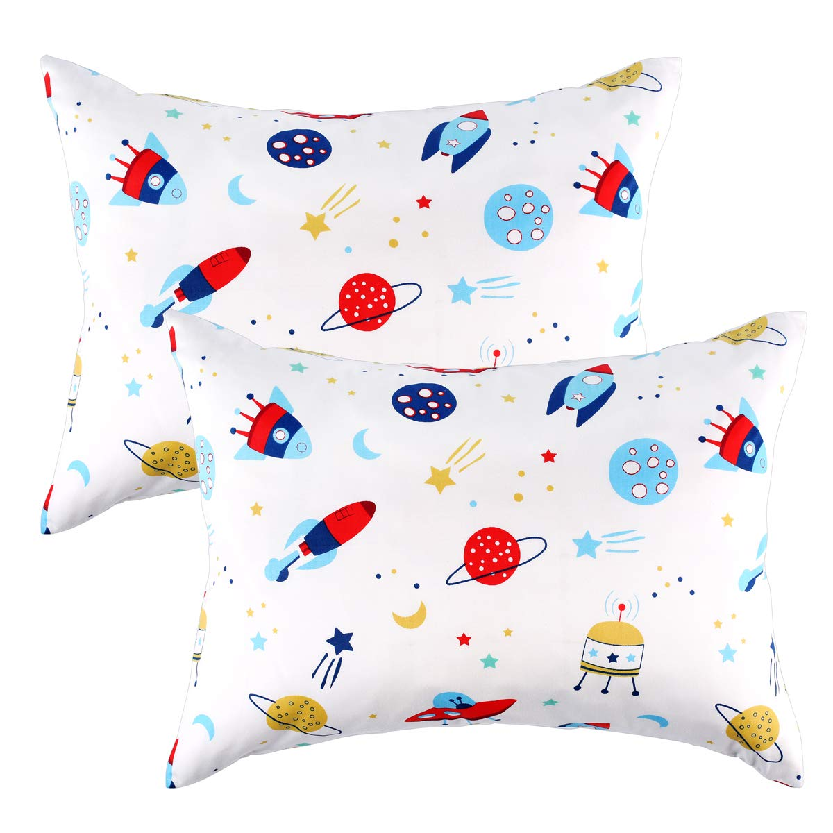 Kids Toddler Pillowcases 100% Cotton 14x19 2 Packs Fits Kid Toddler Bedding Pillow 14x19, 13x18 Small Pillow (White, Rockets Outer Space Stars) by IBraFashion