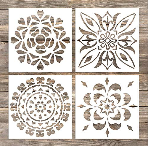 GSS Designs Pack of 4 Wall Stencils 6x6 Inch Laser Cutting Tiles Stencil Template for DIY Home Decor - Use on Wall Floor Tiles Wood Fabric Furniture(SL-005) ()