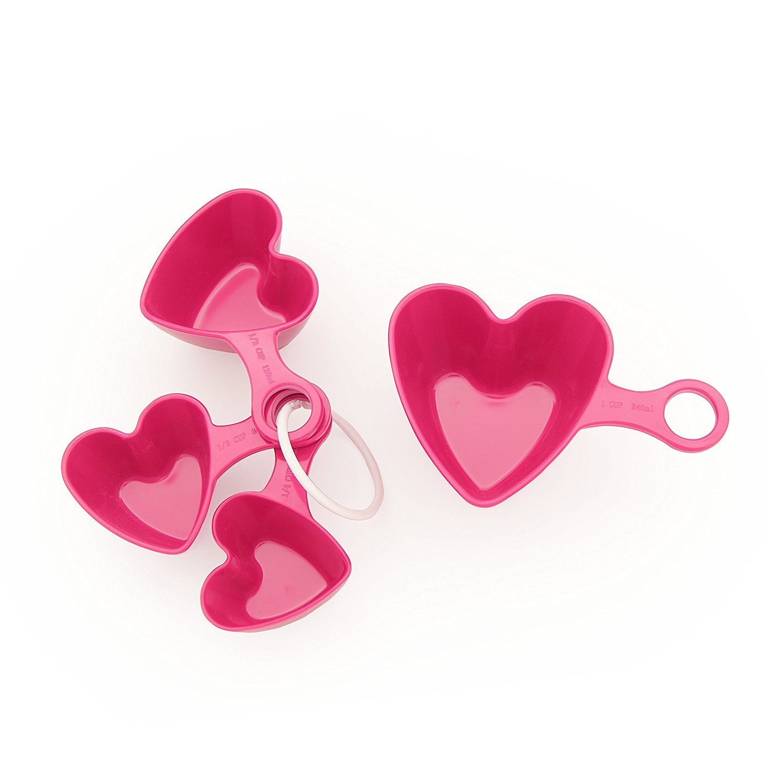 Amazon.com: TP up! Pink Heart Plastic Measuring Cups and Spoons, 4 ...