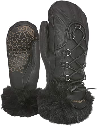 Bliss Dakota Ski Mittens for Women with Warm ThermoPlus 4000, Leather Fabric and Palms, Primaloft, and Membra-Therm Plus Dry Tech (Black, Extra Small (6.5in))