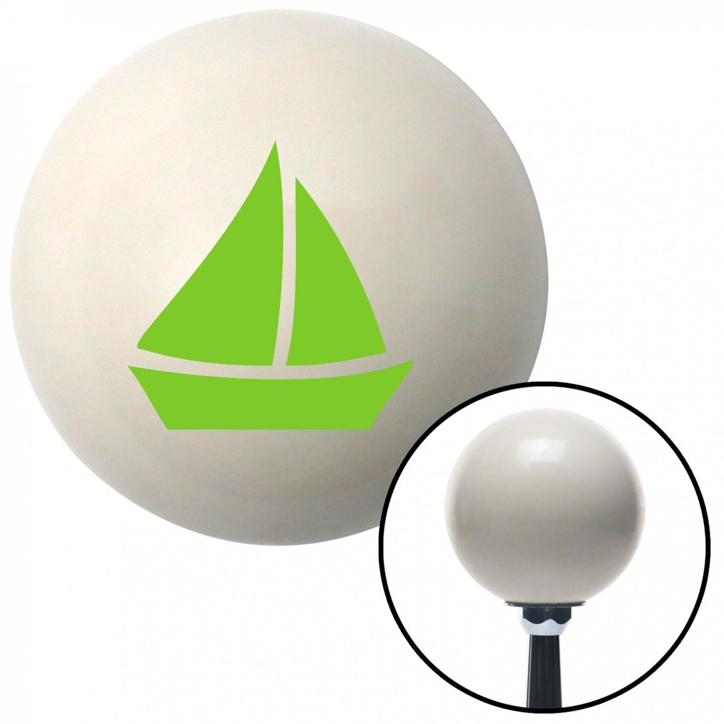 American Shifter 35109 Ivory Shift Knob with 16mm x 1.5 Insert Green Sail Boat 2