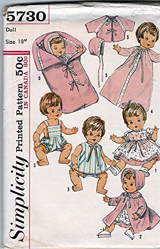 """Simplicity 5730; ©1964; 18"""" Doll Wardrobe, Suitable for Betsy Wetsy, Ginny Baby, Sweetie Pie, Baby Winkie and Twinkie"""