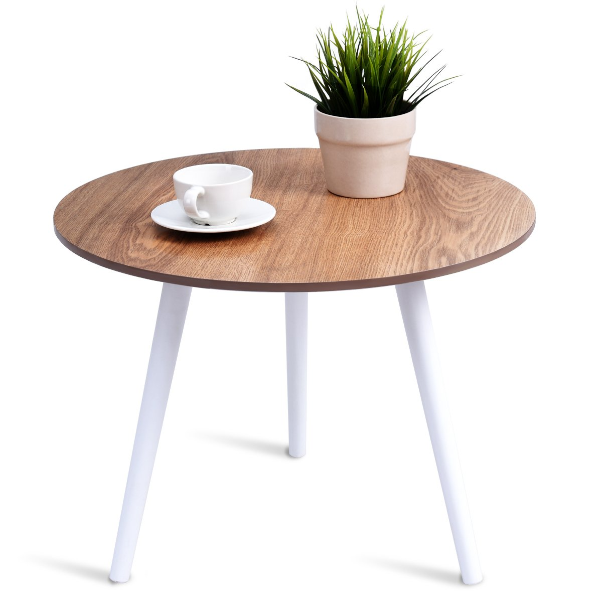 Giantex Coffee Table Round Modern Wood Table Pine Furniture Environmentally  for Magazines, Books & Plants Side Table Round Table