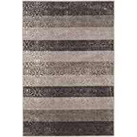 Linon Evolution Collection Damask Stripes 2x3, 2 x 3, Gray