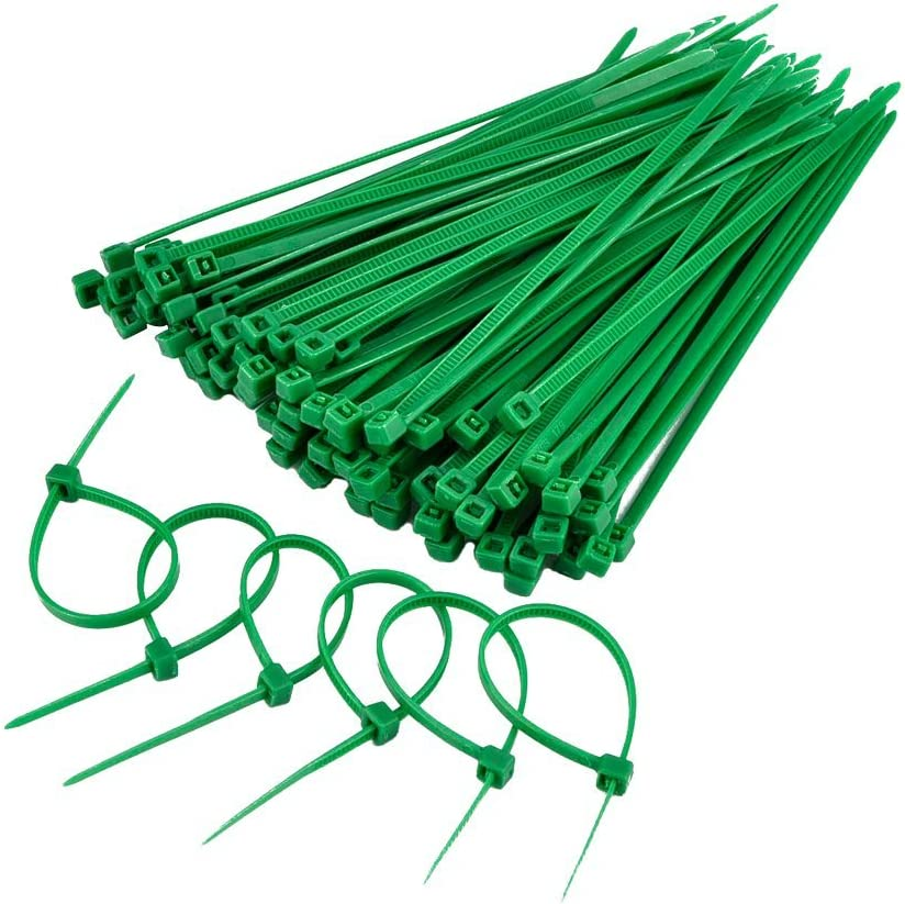 100 indoor cable ties 18pound 4 inch set of 2 1 red and 1 green 2 pkgs = 200 ties total