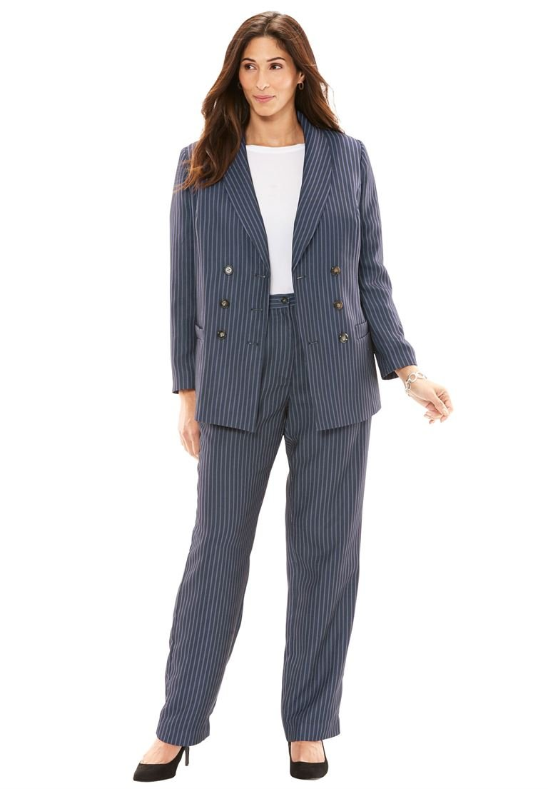 Jessica London Women's Plus Size Double-Breasted Pantsuit Navy/White Stripe,16