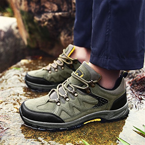 Dexuntong Men's Outdoor Hiking Shoes Anti-Slip Climbing Shoes Walking Shoes Low Rise Casual Trekking Shoes Gray/Green39-47 Green K55L35jaY1