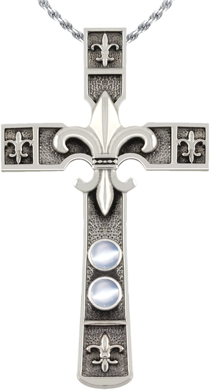 US Jewels And Gems 2 3//16in 0.925 Sterling Silver Moonstone Fleur De Lis Cross Pendant Necklace