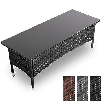 Miadomodo -Table basse en résine tressée - couleur noir - avec ...