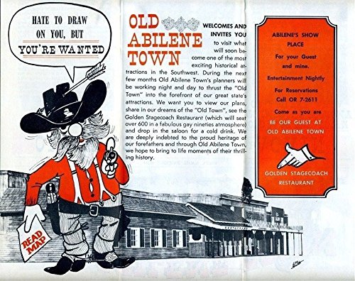Old Abilene Town Pre Opening Brochure Texas Historical Amusement Park 1960's