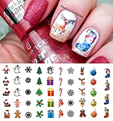 Christmas Holiday Assortment Water Slide Nail Art Decals - Salon Quality 5.5 X 3 Sheet!