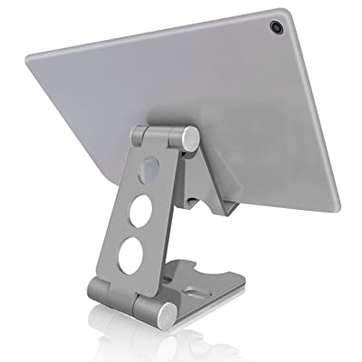 Foldable Tablet Stand, mobfun Multi-Angle Cell Phone Stand Holder for iPad, iPhone X 8 7 Plus, Nintendo Switch, Galaxy S9 S8, Nexus (Silver)