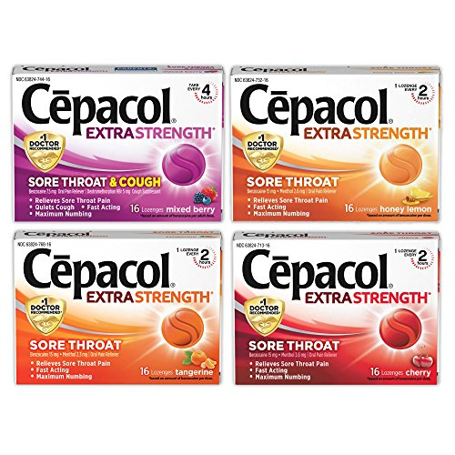 Extra Strength Lozenges - Cepacol Extra Strength Lozenges, Mixed Flavor Variety Pack: Mixed Berry (16 ct), Cherry (16 ct), Honey Lemon (16 ct), Tangerine (16 ct) for Fast Acting, Sore Throat Relief with Benzocaine & Menthol